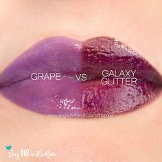 Compare Galaxy Glitter vs. Grape LipSense Gloss using this photo.  Grape gloss is part of the LipSense Jellies Glosses Collection.