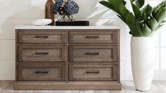 Hamptons 6 Drawer Dressing Table with Stone Top | Domayne