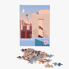 Slow down and enjoy some piece of mind with our jigsaw puzzles! Designed by Australian artist Charlie Bennell, this 285 piece puzzle features one of our favorite buildings in architecture - La Muralla Roja in Calpe, Spain. Warm Blankets, Woven Blankets, Learn How To Knit, Red Walls, Puzzles For Kids, Australian Artists, Claude Monet, Friend Wedding, Shades Of Red