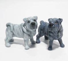 BLUE SHAR PEI SALT PEPPER ART PAINTING PUPPIES FIGURINE