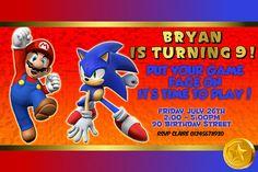 Mario & Sonic Personalized Digital Birthday Party Invitation, Digital File, PDF, JPG, Printable for Mario Sonic Party Theme