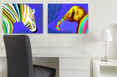 ID95 Colourful elephant and zebra set. Instant download wall art for children. Africa animal kids decor. Large or small Prints Gift for kids by ElcoStudio on Etsy
