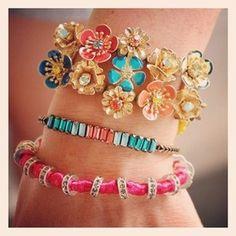 Loving these #summer colors!! www.chloeandisabel.com/boutique/nicoleberenguer #limitededition #pink #coral #aqua #blue #yellow #chloeandisabel #bracelets #armparty #armcandy #bling #jewelry #flowers