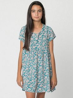 Youth Printed Rayon Babydoll Dress | American Apparel KIDS