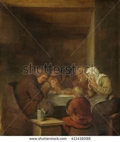 Saying Grace, by Jan Miense Molenaer, 1640-68, Dutch painting, oil on panel. A peasant family praying seated around a table set with a meager meal