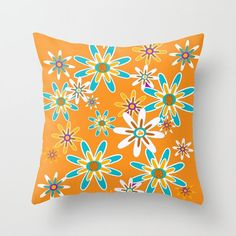 Modern Outdoor Pillow Orange Flower by crashpaddesigns on Etsy