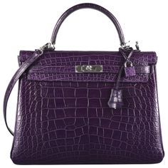 JEWEL HERMES KELLY BAG AMETHYST 35cm ALLIGATOR MATTE COLOR 2DIE!!!!   From a collection of rare vintage handbags and purses at http://www.1stdibs.com/fashion/accessories/handbags-purses/