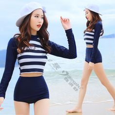 Conservative Girls Long Sleeve Underwired Push Up Cropped Top Tankinis Set www.wish.com/...