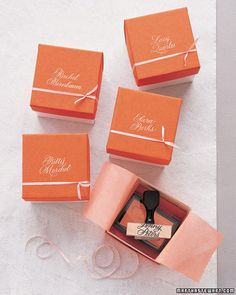 Ask a calligrapher to pen your bridesmaid's names, then turn them into #rubberstamps. #calligraphy