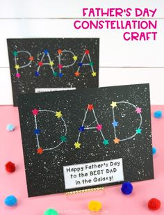 Kids will have a blast making this fun constellation craft for Father's Day. Easy Father's Day craft for preschoolers and kids of all ages to make for Dad and Grandpa. Fathers Day Art, Easy Fathers Day Craft, Happy Fathers Day, Preschool Fathers Day Gifts, Diy Gifts For Fathers Day, Fathers Day Images, Toddler Crafts, Preschool Crafts, Diy Crafts For Kids