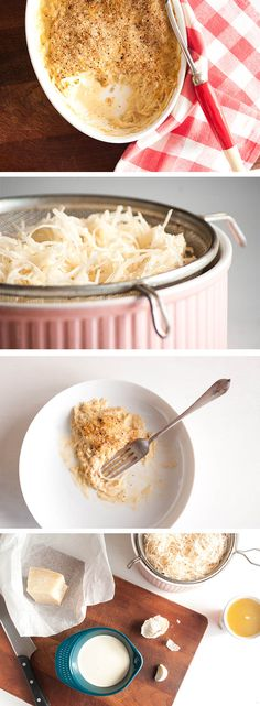 A luxurious, creamy side dish with soft strands of grated potato in a garlic and Parmesan sauce. An elegant gratin for Sunday roast dinner.