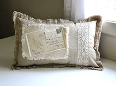 French postcard linen pillow by lisawinestudios on Etsy, $27.50