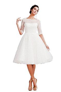 Ikerenwedding Women's 1/2 Sleeve Lace Tule Knee-length Wedding dress Party Gown White US14 Ikerenwedding http://www.amazon.com/dp/B015K3PZFG/ref=cm_sw_r_pi_dp_4d1.vb1YAXV98