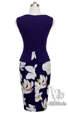 Bayan elbise vintage tasarım diz hizası lacivert,bayan elbise,online elbise,ucuz elbise,elbise satın al,abiye elbise, Stylish Clothes, Stylish Outfits, Church Fashion, New Wardrobe, Peplum Dress, Satin, Formal Dresses, Casual, Skirts