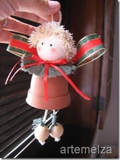Christmas bell craft - I might still have enough little pots to make this happen for the Christmas party with the girls. Christmas Clay, Christmas Ornament Crafts, Christmas Bells, Christmas Angels, Christmas Projects, Holiday Crafts, Christmas Holidays, Christmas Decorations, Crochet Christmas
