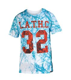 LATHC Marbled pattern tee Short sleeves Crew neck with ribbed collar LATHC brand logo on front Cotton for comfort