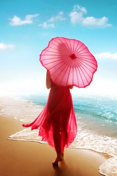 Woman in red with parasol walking on the beach. Umbrella Art, Under My Umbrella, Pink Umbrella, Beach Umbrella, Umbrellas Parasols, Foto Art, Photomontage, Shades Of Red, My Favorite Color