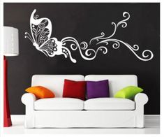 White Large Butterfly Mural Art Wall Stickers Vinyl Decal Home Room Decor DIY