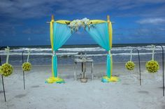 How cool is this bamboo backdrop with classic aqua/turquoise fabric combined with a neon green/yellow pop of color!
