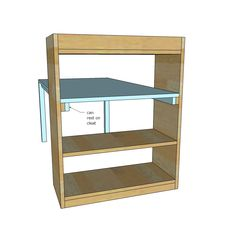 THIS is how to attach the top of the desk to the book shelf! (I don't what the book shelf to go above the desk, nor do I want the book shelf side to be outside).