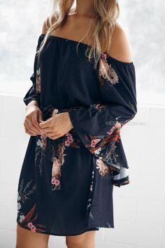 Elisa Off Shoulder Dress in Navy Print $54.95