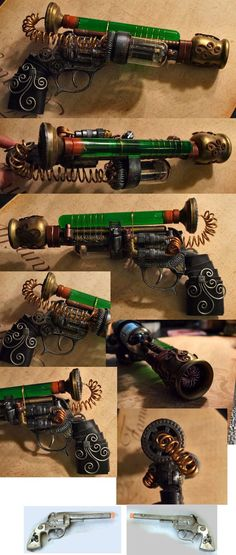 This Steampunk pistol was made from a Nerf N-Strike Jolt Blaster, the small image at the bottom, and a Toysmith Pirate Telescope. This pistol is the companion to my Steampunk Shot gun which I . Steampunk Gadgets, Steampunk Crafts, Steampunk Design, Victorian Steampunk, Neo Victorian, Steampunk Accessories, Steampunk Clothing, Steampunk Fashion, Steampunk Pistol