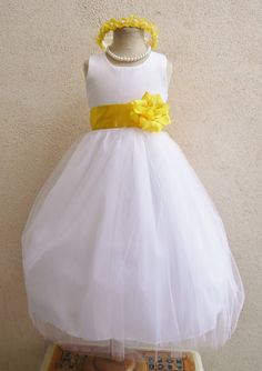 Flower Girl Dress WHITE/Yellow RB POLOS Wedding by NollaCollection