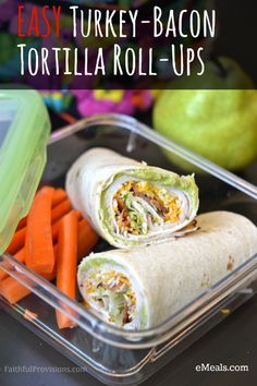 Turkey Bacon Tortilla Roll Up Recipe - perfect for Back to School lunches. This is just one of the great recipes in the eMeals Back to School Survival Guide that comes FREE with a subscription. Try it now and SAVE with this promo code!