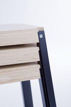 Opla / stackable stool / plywood + steel / detail by Moskou