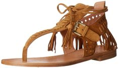 Sigerson Morrison Women's Alysa Flat Sandal, Harissa, 8 M US. Flat thong sandal featuring strappy woven upper with diamond-shape cutouts, fringe trim, and tassel-tipped ankle laces. Adjustable buckle strap closure.