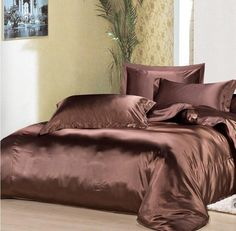 2015 Spring Summer Luxury Brown Mulberry Silk Satin Bedding Set King Size Comforter Sets Queen Full Twin Duvet Cover High-grade Wedding Gift
