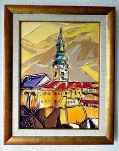 Nad hradom, 50 x 40 cm, www.turzak-art.sk, #nitrahrad  #nitrianskyhrad #obrazynitry #nitra, akryl a modelovacia pasta na plátne Painting, Art, Craft Art, Paintings, Kunst, Gcse Art, Draw, Drawings, Art Education Resources