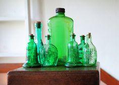 Vintage Emerald Green Bottles, Set of Seven Green Glass Bottles