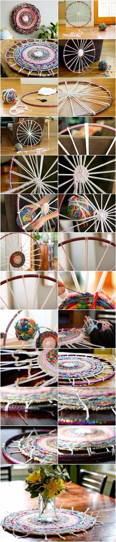 Woven Finger-Knitting Hula-Hoop Rug DIY - from Flax & Twine; great instructions; an old t-shirt was used for the spokes; lots of yarn was finger-knitted and wound into a huge ball to use for weaving   ... https://www.flaxandtwine.com/2012/02/woven-finger-knitting-hula-hoop-rug-diy/