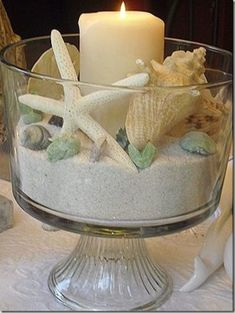 Close up touches beach candle decor Bathroom Decoration - Beach Cottage Style, Beach Cottage Decor, Coastal Decor, Coastal Style, Coastal Cottage, Cottage Living, Seaside Decor, Cottage Art, Cottage Design