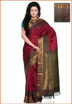Red Kanchipuram Pure Silk Saree with Blouse