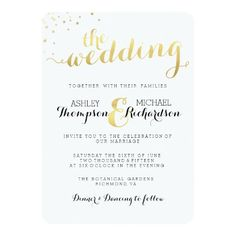 Modern Faux Gold Foil Glamour Wedding Invitation. Matching RSVP, Guest Information, Thank you, Save the date, Postage Stamps, accessories and more available at http://www.zazzle.com/bydandeliondesign