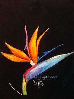 Bird of paradise flower, Strelitzia reginae watercolor by Yoyita exotic tropical flowers