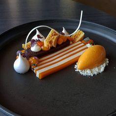 Sea Buckthorn, Dark Chocolate and Vanilla #västergården #pastry #pastrychef #patisserie #dessertmasters #dessert #valrhona…
