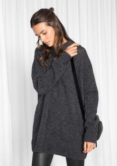 & Other Stories image 2 of Oversized Knit in Blackberry/Grey