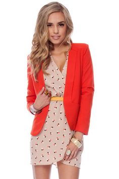 Gatsby Blazer in Red Orange :: tobi