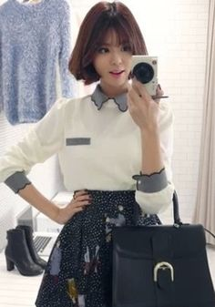 White Patchwork Cut Out Peter Pan Collar Blouse