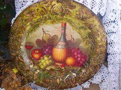 """Купить ФРУКТОВЫЙ РАЙ"""" тарелка. - хаки, зеленый цвет, фрукты, кухня, фруктовый, вино, золото"""
