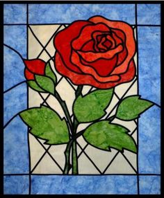 New Quilt Patterns - Stained Glass Rose Quilt Pattern Stained Glass Quilt, Stained Glass Flowers, Faux Stained Glass, Stained Glass Designs, Stained Glass Panels, Stained Glass Projects, Stained Glass Patterns, Leaded Glass, Patchwork Quilt