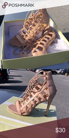 Nude heels Lace up nude 4inch heels. Size 9 but Fits like an 8 1/2. Shoes Heels