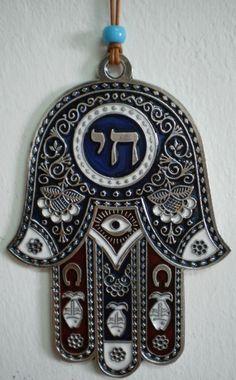 CHI HAMSA HAND BLUE&RED HEBREW ENAMEL WALL HANGING