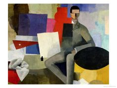 """The Seated Man, or the Architect""  by Roger de La Fresnaye. We like how the artist uses colors and shapes put together to create a picture. This could be a fun activity done with collage or painting teaching students about shapes and cubisim. Marisa and Paige"