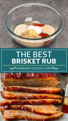 Beef Brisket Rub - The absolute best brisket rub with a blend of brown sugar and spices. Best Brisket Rub, Smoked Brisket Rub, Dry Rub For Brisket, Bbq Dry Rub, Dry Rubs, Beef Brisket Recipes, Rub Recipe For Beef Brisket, Beef Brisket Injection Recipe, Best Bbq Rub Recipe