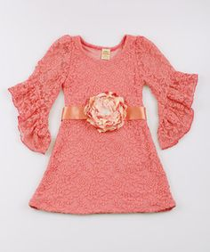 Another great find on #zulily! Mia Belle Baby Dusty Rose Boho Lace Dress - Toddler & Girls by Mia Belle Baby #zulilyfinds