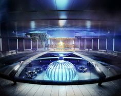 Underwater Hotel, Dubai, UAE - The above-water disc is comprised of a restaurant, spa, a special recreation area and a multifunctional lobby that is built inside an enormous swimming pool. The swimming pool can be accessed by the roof, along with a rooftop garden and the helicopter pad.